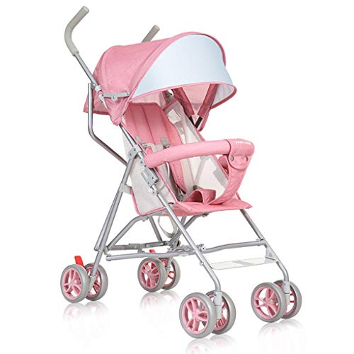 Kinderwagens voor peuters Lichtgewicht Vouwen Baby Eenvoudige Winkelwagen Comfortabele Reissysteem Paraplu roze