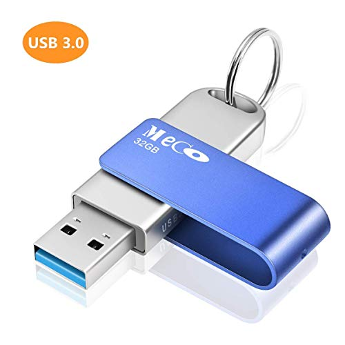MECO ELEVERDE Pendrive 32gb 3.0 Memoria USB con Llevaro Flash Drive Aluminio Portátil USB Memory Stick para PC/Laptop/Notebook Azul