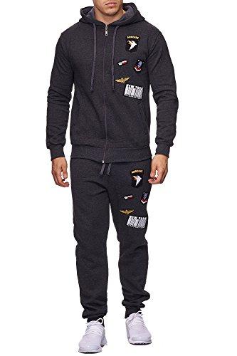 Violento Herren Jogging-Anzug | USA-Patches 685 (M-Slim, Anthrazit)