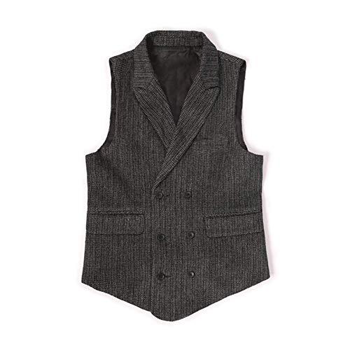 Zweireihige Revers Vertikale Streifen Herren Weste Wolle Slim Anzugweste Herren Große Größe-XXXL