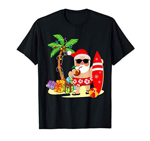 Christmas - Summer Surfing Santa Claus T-Shirt