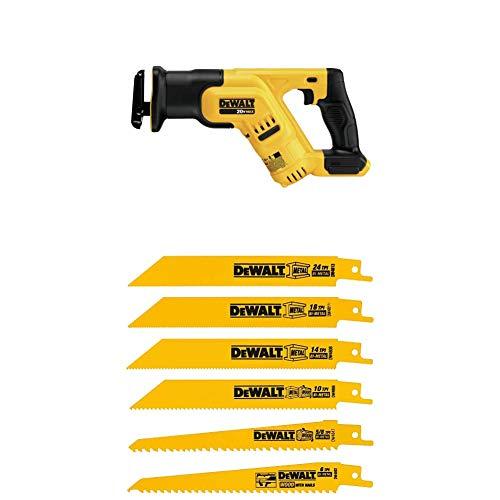 DEWALT DCS387B 20-volt MAX Compact Reciprocating Saw with Tool w/ DW4856 Metal/Woodcutting Reciprocating Saw Blade Set, 6-Piece