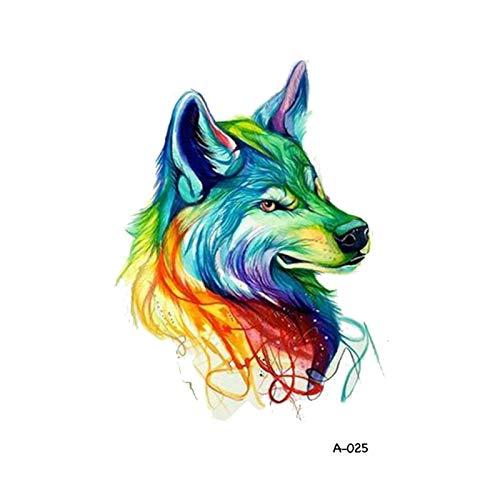 BJKKM Duradero 10 PCS Diseño Lobo Cabeza Animal Tatuaje Temporal para Hombres Impermeable Tatoo Pegatina Moda Arte Corporal para la Fiesta del Festival (Color : K)