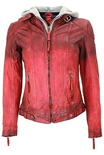 Gipsy - Damen Lederjacke Kapuze Lammnappa rot Größe L