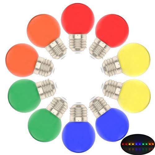 10er Farbige LED Leuchtmitte E27 G45 Gemischt Rot Gelb Grün Blau Orange,Bunte Glühbirnen für Hochzeit Halloween Weihnachten Party Bar