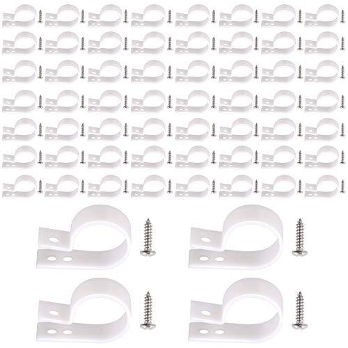 Rustark Juego de 60 abrazaderas de cable tipo R de nailon blanco de 2,5 cm con 60 tornillos de acero inoxidable, juego de clips de cable de montaje para cable de gestión de cables (2,5 cm)