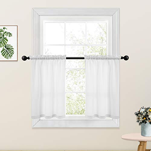 White Kitchen Tier Curtains 24 inches Long Linen Textured Cafe Curtains Short Bathroom Small Basement Window Curtain 2 Panels Rod Pocket