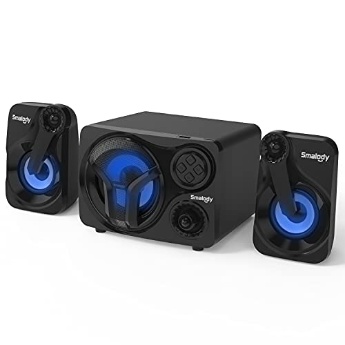 Smalody Computer Speakers with Subwoofer, 2.1 Loud Sound System Desktop Speakers, Cool Blue LED, Multimedia Speaker with Bluetooth/Line-in/USB & TF Slot Compatible with PC, Desktop, Laptop, TV