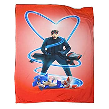DRAGON VINES Sonic Shadow The Hedgehog Dr Robotnik Jim Carrey Classic Family Leisure Blanket Cartoon Animation Sofa Life Plush Blanket 30x40inch 80x100cm
