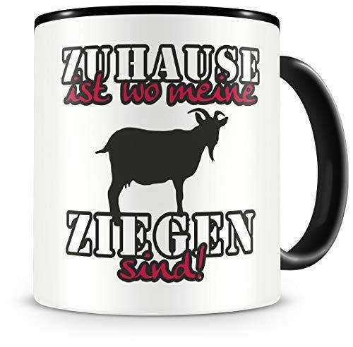 Samunshi® Ziegen Tasse mit Spruch Zuhause ist Ziegen Geschenk für Ziegen Fans Kaffeetasse groß Lustige Tassen zum Geburtstag schwarz 300ml