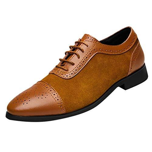 ZHANSANFM Herren Schlichter Lederschuhe Business-Halbschuh Slip On Breathable Hohl Anzugschuhe wies Formale Schuhe mit Oxford Schnürung Regular Fit Elegant Gr.37-46(44 Gelb)