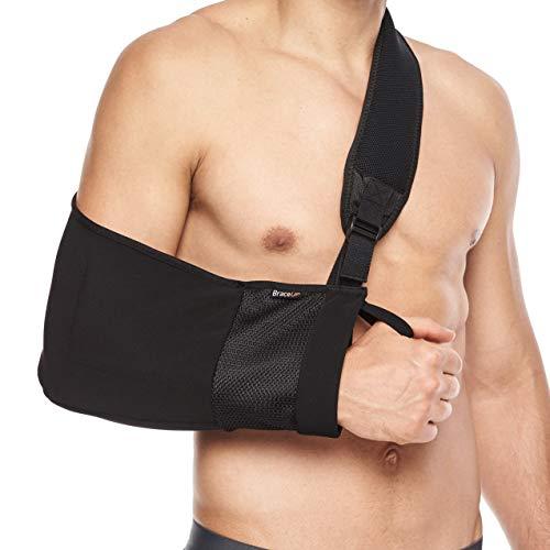 BraceUP® Armschlinge bei Schulterverletzungen, Tennisarm, gebrochenem Arm, nach Handgelenk- und Ellbogen-Operationen mit verstellbaren, gepolsterten Tragegurten - für Frauen & Männer, links & rechts