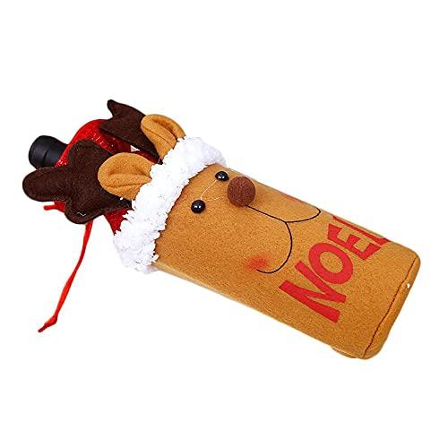jadlahf 3 Piezas De Tapas De Botellas De Vino Navideñas, Bolsa De Polvo para Papá Noel, Muñeco De Nieve, Vajilla De Alce, Decoraciones Navideñas Y De Año Nuevo