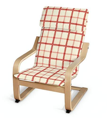 Dekoria Poäng Kissen für den Kindersessel Sesselhusse passend für IKEA Modell Klappsta Creme- rot