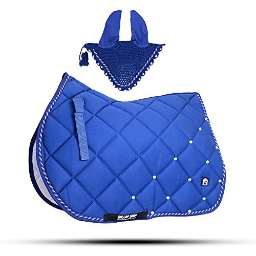 Gallop Shop Tapis de selle pour cheval Bleu roi avec cache-oreilles (poney)