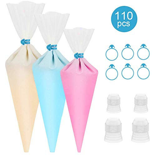 esafio 100 Pieces Pastry Piping Bags Disposable Cake Decorating Bags(3 different sizes 12'+16'+18') Anti-Burst Cupcake Icing Bags for all Size Tips Couplers-Bonus 6 Piping Bag Ties and 4 Couplers