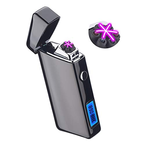 Electric Lighter Rechargeable Cigar Plasma USB Cigarette Triple Arc Windproof Pipe Survival Electronic Candle Cool Lighters for Smoking Weed with LED Screen Battery Indicator Black