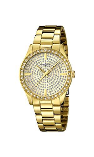 Lotus Reloj de Cuarzo para Mujer con Oro Esfera analógica Pantalla y