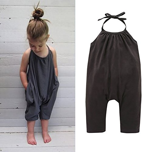 Darkyazi Baby Cute Grey Summer Jumpsuits for Girls Kids Harem Strap Romper Jumpsuit Toddler One Piece Pants Trousers Clothes Size 2-8Y (3T, Grey)