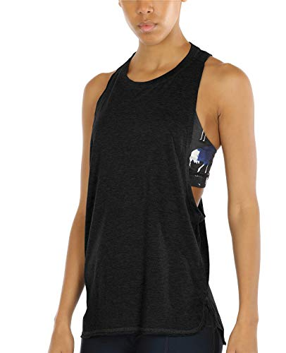icyzone Workout Tank Tops for Women - Running Muscle Tank Sport Exercise Gym Yoga Tops Athletic Shirts (S, Black)