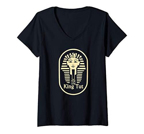 Damen König Tut stilisiertes Bild T-Shirt mit V-Ausschnitt