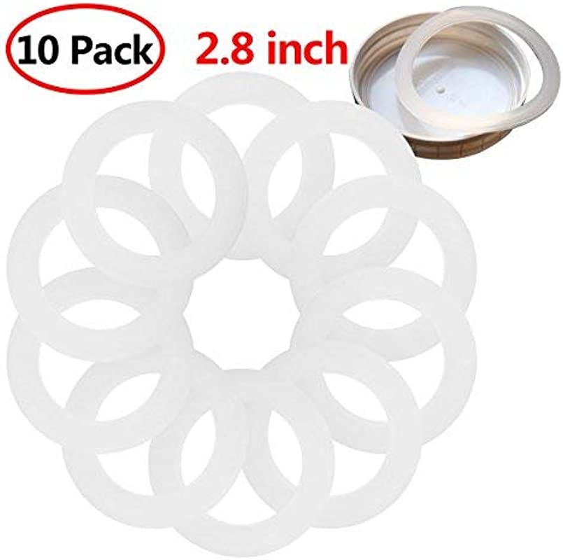Freebily 10pcs Reusable Food Grade Silicone Airtight Sealing Rings Gaskets For Leak Proof Mason Ball Kerr Jar Lids Plastic Storage Cap White 2 8 Inch