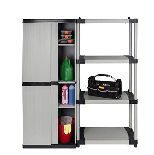 Kreher 90128 Schrank Regal Kombination mit Schiebetüren und höhenverstellbaren Böden 148 x 40,5 x 168 cm