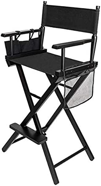 Sanhezhong Director S Chair Makeup Chair Bar Height Collapsible Portable Wood Frame Foldable Tall Professional Makeup Artist Chair With Bottle Rack Side Storage Bag Footrest US Warehouse