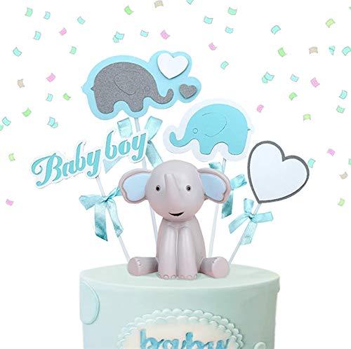 2 piezas de decoración de pastel de elefante Boy Baby Baby Centros de mesa Es un niño Cake Topper Bay Decoración de pastel de ducha