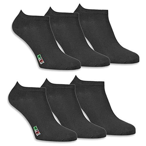 CALZE YTLI Socken Sneaker 6 Paar Atmungsaktives Sportsocken, Herren Damen Kurzsocken Baumwollsocken Casual Business schwarz/weiß(EU 35-46)