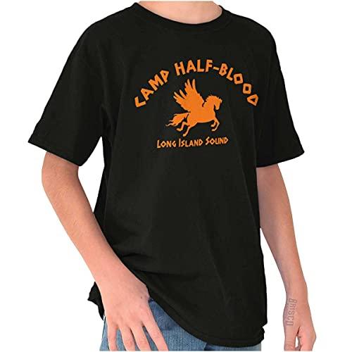 Brisco Brands Camp Half Blood Greek Mythology Crewneck T Shirts Boy Girl Black