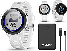 Garmin Forerunner 245 Music (White) Running GPS Watch Bundle | +Screen Protectors & PlayBetter Portable Charger (Large) | Advanced Analytics, Heart Rate, Body Battery, Fitness Tracker | 010-02120-21
