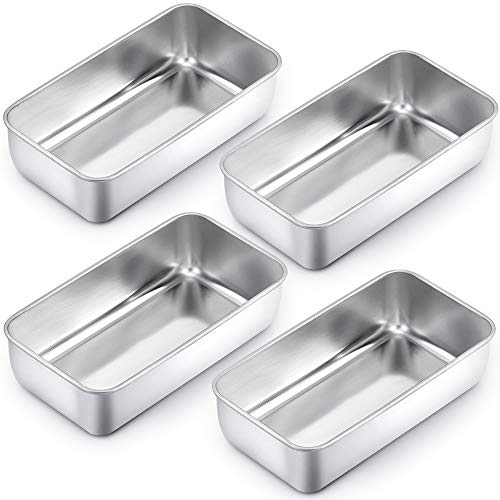 TeamFar Loaf Pan, 9¼' × 5' Bread Loaf Pans Meatloaf Pan Stainless Steel for Baking Bread Cake Lasagna, Healthy & Durable, Oven & Dishwasher Safe - Set of 4