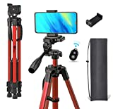 Eloies® Phone Tripod, 55' Aluminum Lightweight Tripod Stand with Bluetooth Remote & Phone Clip, Tripod for iPhone/Android Phone and Camera | Compatible with Canon, Nikon, MI, Vivo, Samsung Etc. | Colour May Vary on Availability| (RED)