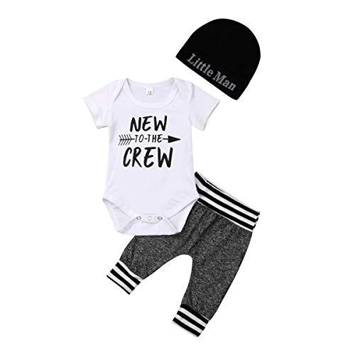 Geagodelia 3tlg Babykleidung Set Baby Jungen Kleidung Outfit Body Strampler + Hose + Mütze Neugeborene Kleinkinder Weiche Babyset New to The Crew (0-3 Monate, Weiß & Grau 264 - Kurzarm)