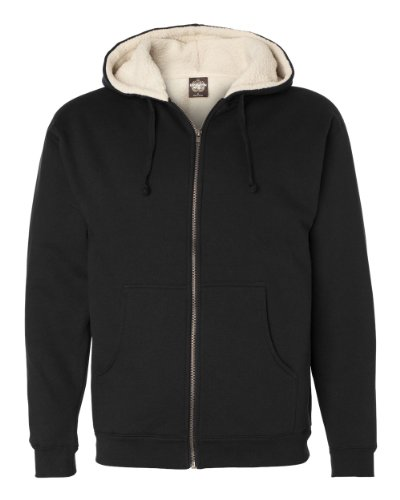 Independent Trading Co. Mens Sherpa Lined Full-Zip Hooded Sweatshirt (EXP40SHZ) Black/Natural XL