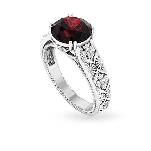 Rosec Jewels 10 quilates oro blanco redonda round-brilliant-shape H-I Red Diamond Garnet