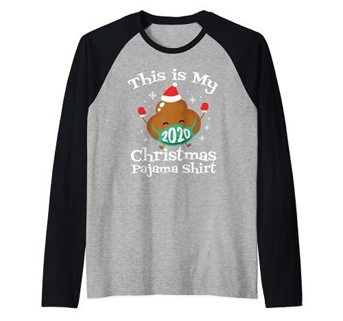 Navidad 2020 Pijama con mascarilla de caca Navidad a juego Camiseta Manga Raglan