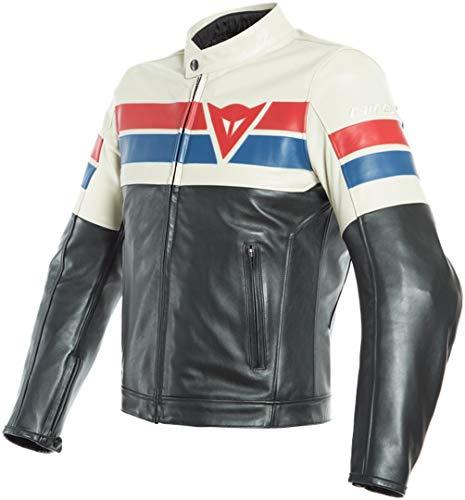 Dainese 8-Track - Chaqueta de piel para moto, color negro, blanco y rojo