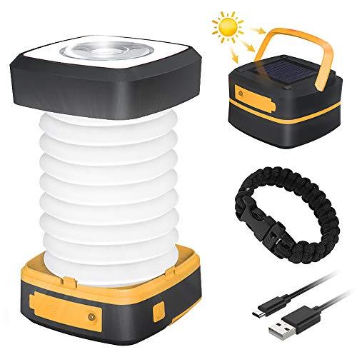 LED Campinglampe GlobaLink faltbare Solar Camping Laterne Energienbank mit 2 Lademethoden (Solar/USB) und 3 Lichtmodi für Camping, Angeln, Notfall -inkl. Survival Armband mit Pfeife(Gelb)