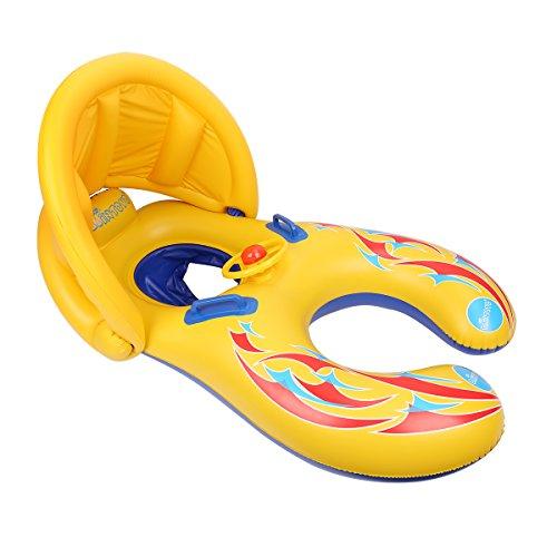 Glagie Schwimmring für Baby von 1 bis 3 Jahre Aufblasbare Umweltfreudlich PVC Schwimmhilfe Schwimmreifen mit Sonnendach und Lenkrad Gelbe (Gelb1)