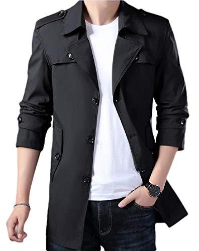 H.Wang Men's Single Breasted Trench Outwear Coat Pea Coat Overcoat Windbreaker Jackets Khaki M
