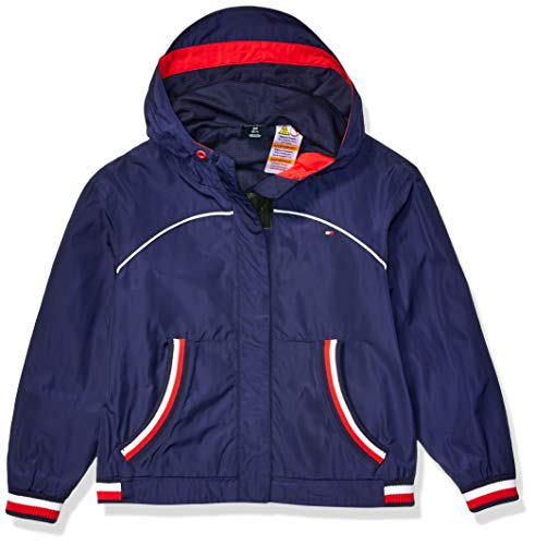Tommy Hilfiger Mädchen Hooded Jacket with Magnetic Closure Jacke, Nachtblau, Medium