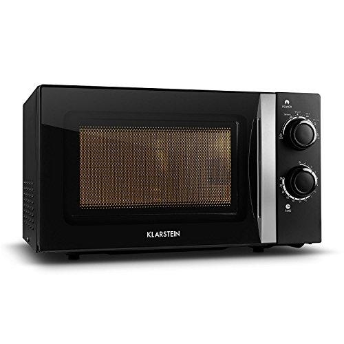 Klarstein myWave - Micro-ondes, 700 W, 20 l, pour petits ménages, ultra compact, vitré, 2 boutons, 6 puissances, minuterie, éclairage intérieur, signal de fin, inox, noir