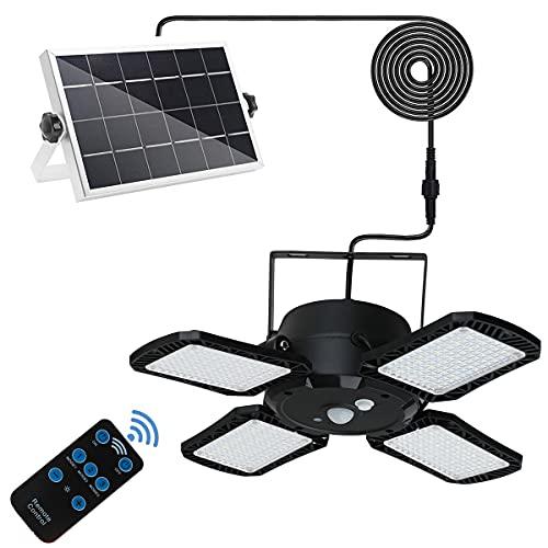 Solar Pendant Lights Indoor IP65 Waterproof Lamp 1200Lum Move Sensor for Chicken Coops, Patio, Corridor Outdoor Shed Barn Garage with Remote Control