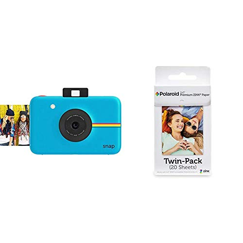 Polaroid Fotocamera Digitale a Scatto Istantaneo con Tecnologia di Stampa a Zero Inchiostro Zink, Blu & Premium Zink Carta Fotografica Compatibile con Polaroid Zip, Snap, Snap Touch, Z2300