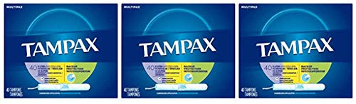 Tampax Cardboard Applicator Tampons Light/Regular/Super Absorbency Multipack Unscented 40 count  Pack of 3 120 Total Count