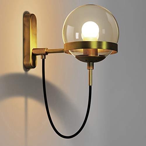 PEISHI Lámpara de Pared Personalidad Simple Bola de Cristal de la lámpara de Pared del Pasillo de Escalera (Bronce Chapado en Oro) una Agradable (Color : Gold Bronze Plating)