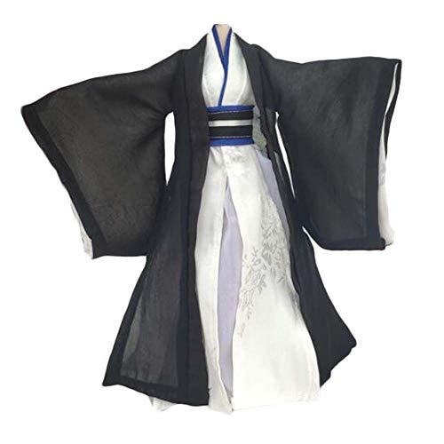 BLANCHO BEDDING Handgemachte chinesische Stil Alten Kostüm Puppe Kleid Kampfkunst Film Schwarz-Weiß-Puppe Kleidung für 11,5-Zoll-Puppe