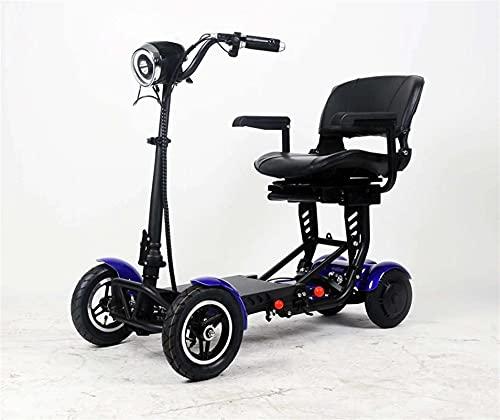 HTRTH Mejorar el Transformador de Viaje 4 Rueda Plegable Movilidad Scooter Nuevo Mini Adulto portátil Plegable Scooter eléctrico Plegable 917 (Color : 36V15ah Big Blue)
